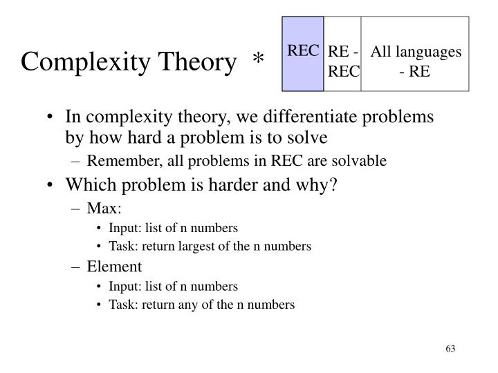 Complexity Theory  *