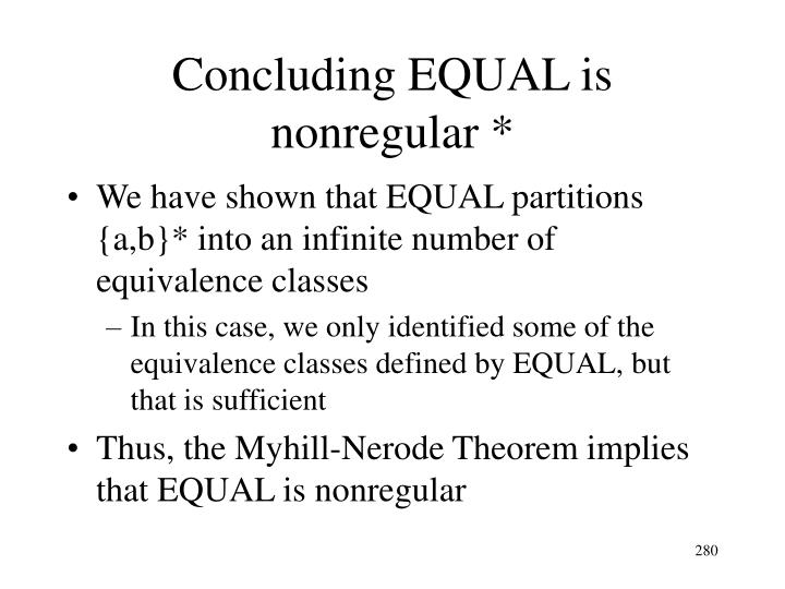 Concluding EQUAL is nonregular *