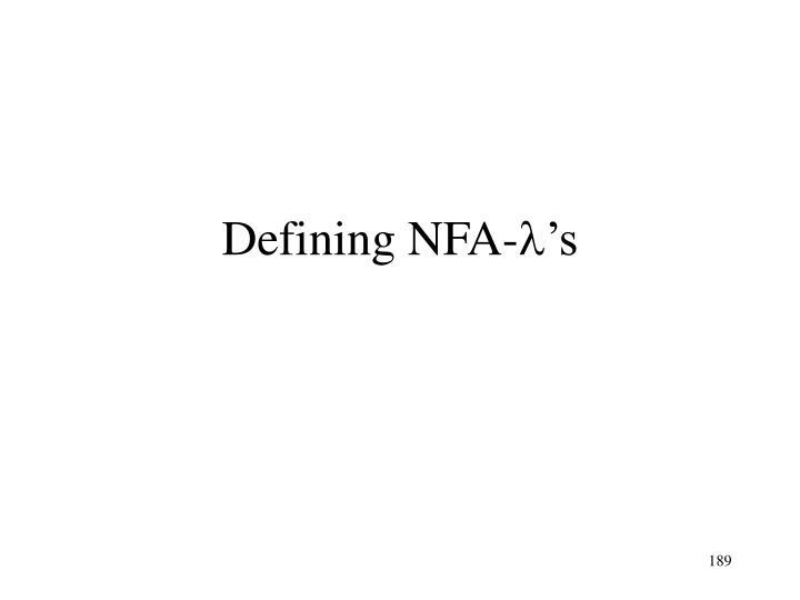 Defining NFA-