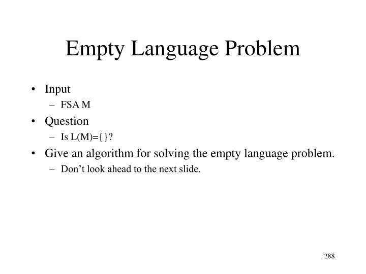 Empty Language Problem