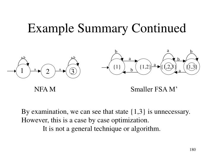 Example Summary Continued