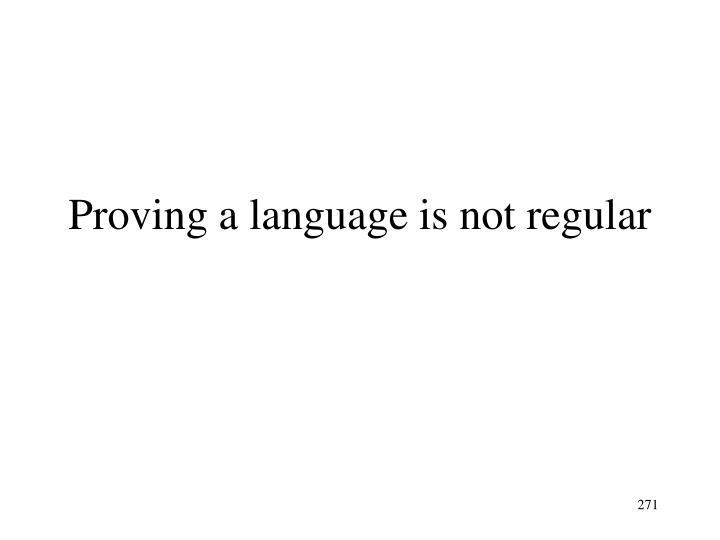 Proving a language is not regular