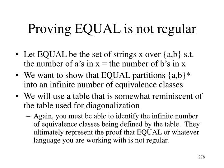 Proving EQUAL is not regular
