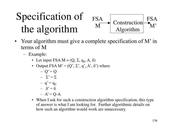 Specification of the algorithm