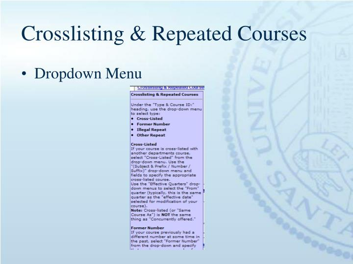 Crosslisting & Repeated Courses