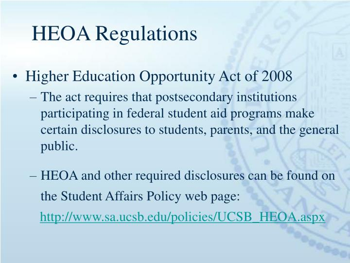 HEOA Regulations
