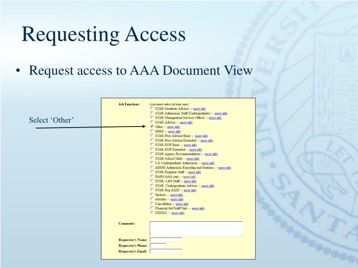 Requesting Access