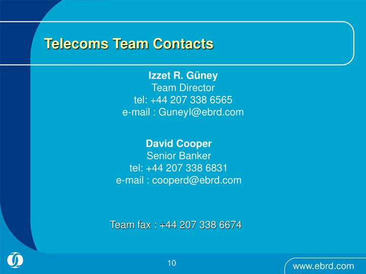 Telecoms Team Contacts