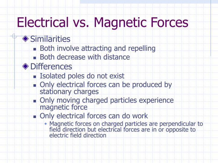 Electrical vs. Magnetic Forces