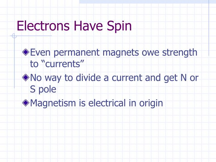 Electrons Have Spin