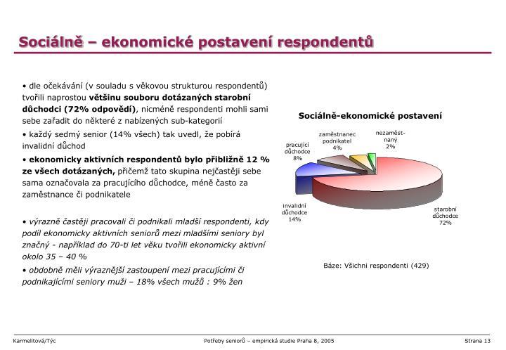 Sociálně – ekonomické postavení respondentů