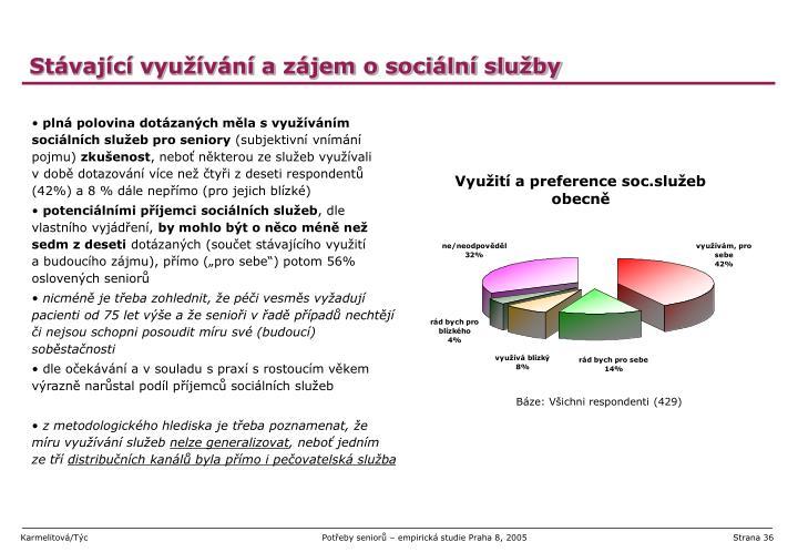 Stávající využívání a zájem o sociální služby