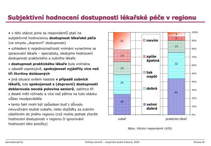 Subjektivní hodnocení dostupnosti lékařské péče v regionu