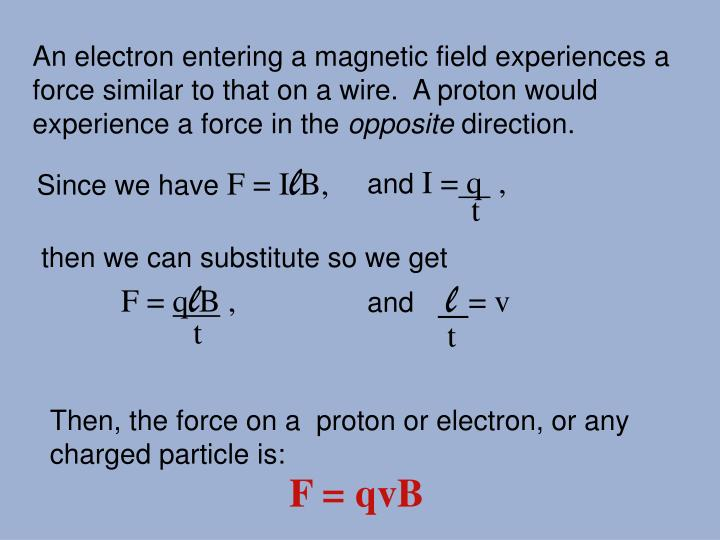An electron entering a magnetic field experiences a force similar to that on a wire.  A proton would...