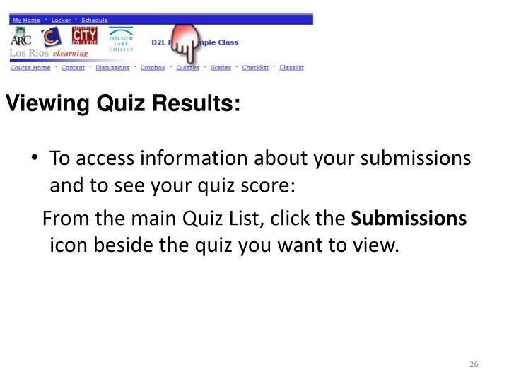Viewing Quiz Results:
