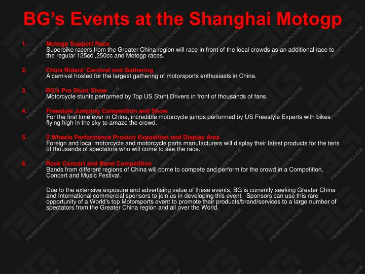 BG's Events at the Shanghai Motogp