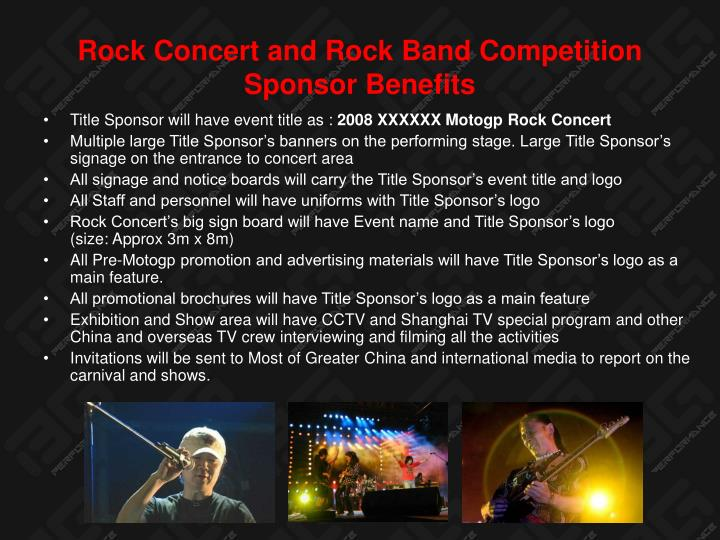 Rock Concert and Rock Band Competition Sponsor Benefits