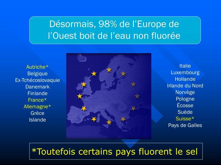 Désormais, 98% de l'Europe de