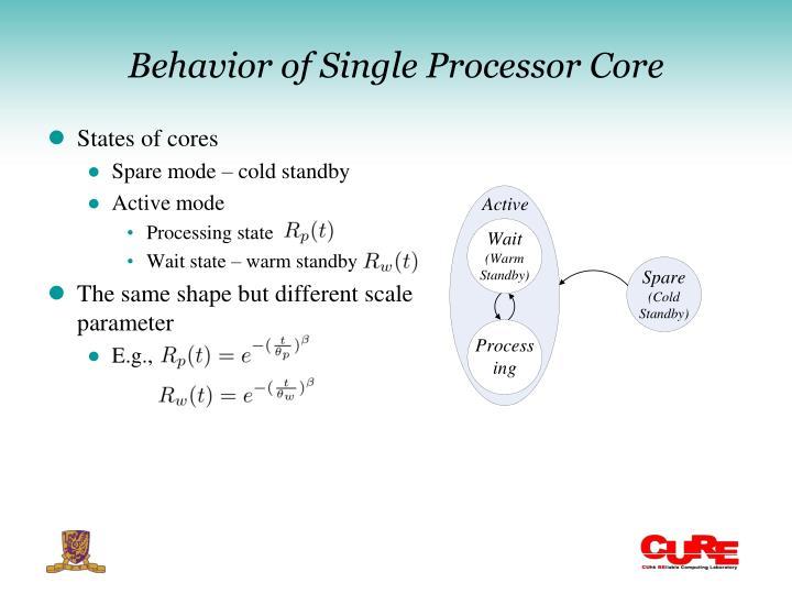 Behavior of Single Processor Core