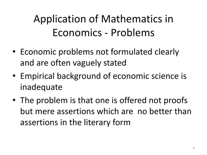 Application of Mathematics in Economics - Problems