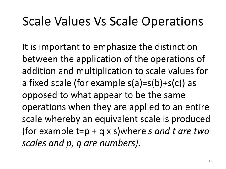 Scale Values Vs Scale Operations