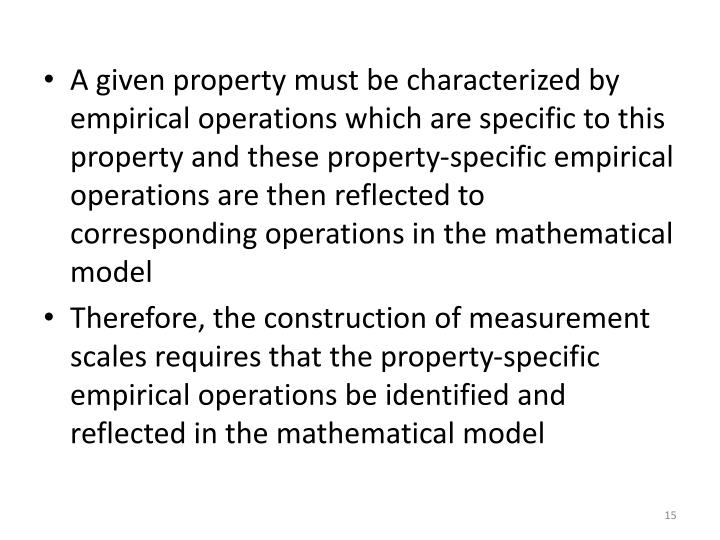 A given property must be characterized by empirical operations which are specific to this property and these property-specific empirical operations are then reflected to corresponding operations in the mathematical model