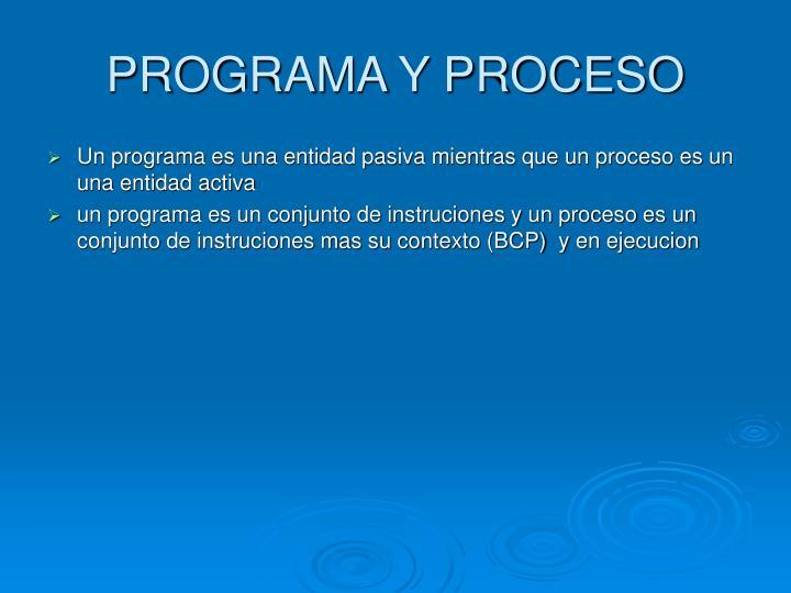 PROGRAMA Y PROCESO