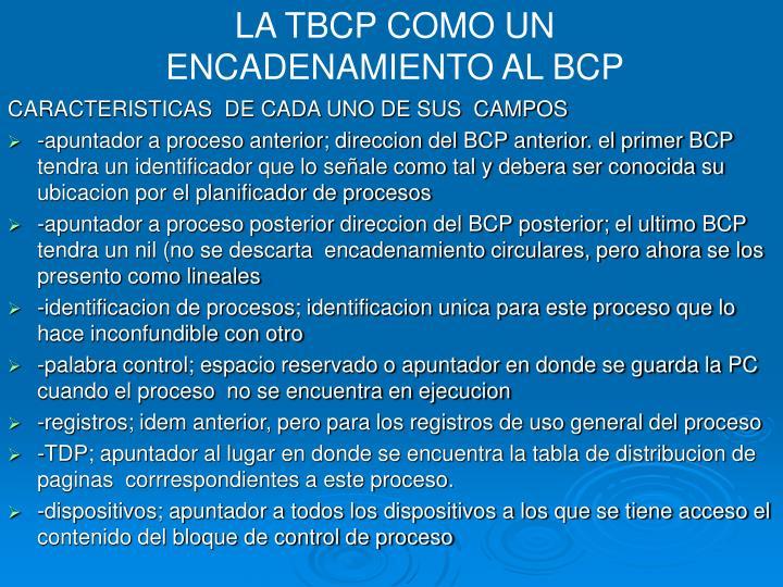 LA TBCP COMO UN ENCADENAMIENTO AL BCP
