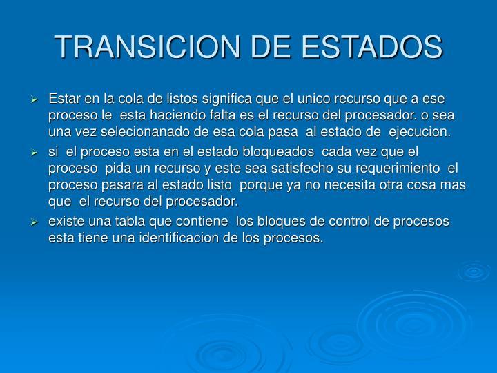 TRANSICION DE ESTADOS