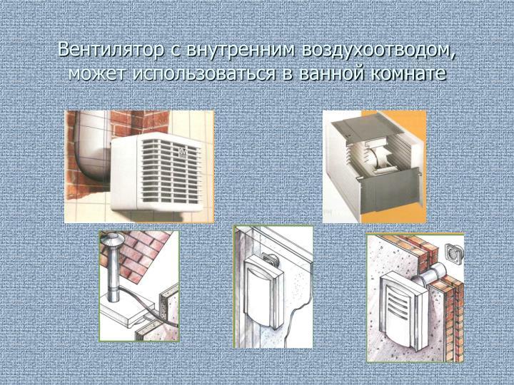 Вентилятор с внутренним воздухоотводом, может использоваться в ванной комнате
