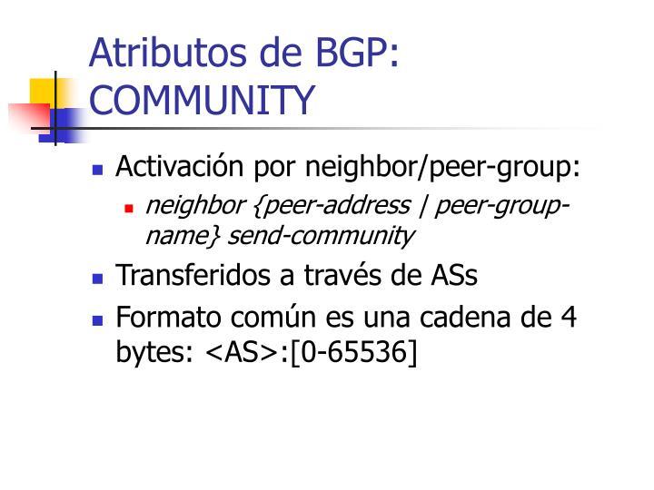 Atributos de BGP: COMMUNITY