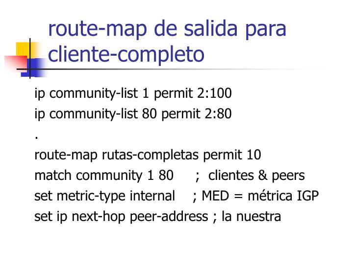route-map de salida para cliente-completo