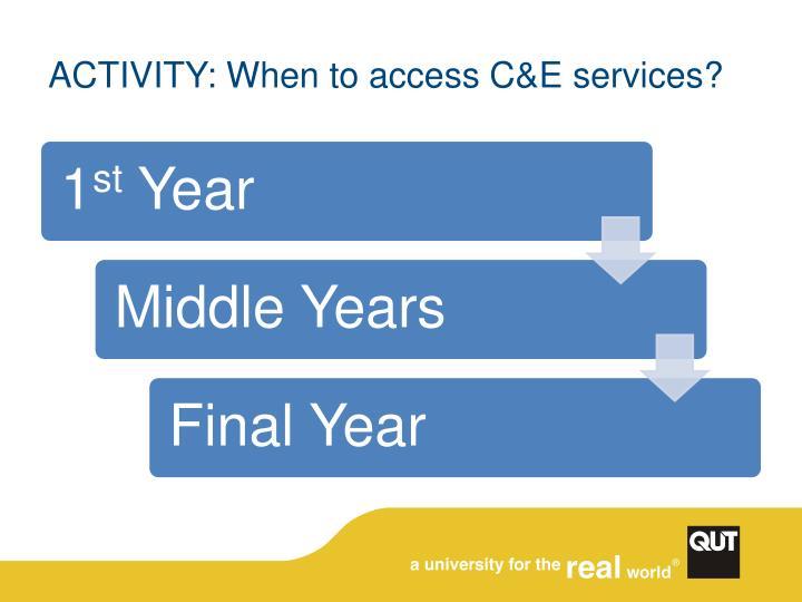 ACTIVITY: When to access C&E services?
