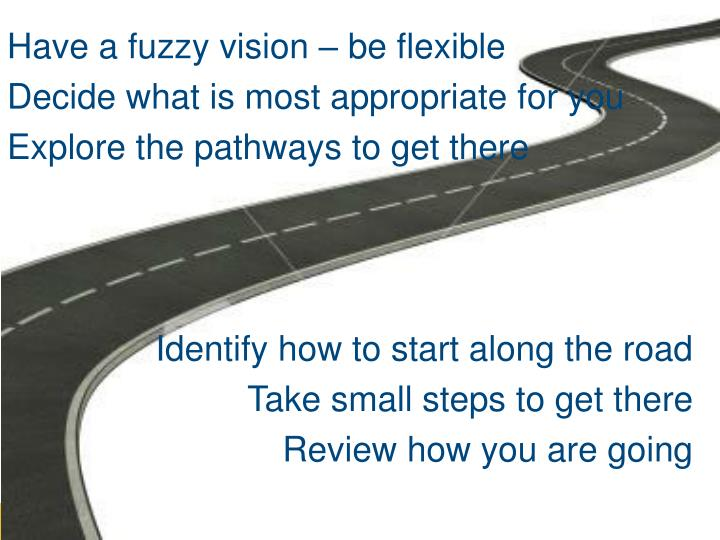 Have a fuzzy vision – be flexible