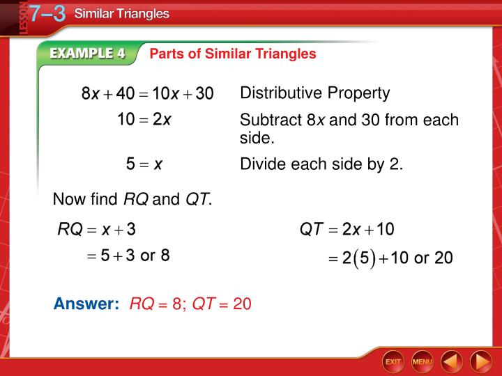 Parts of Similar Triangles