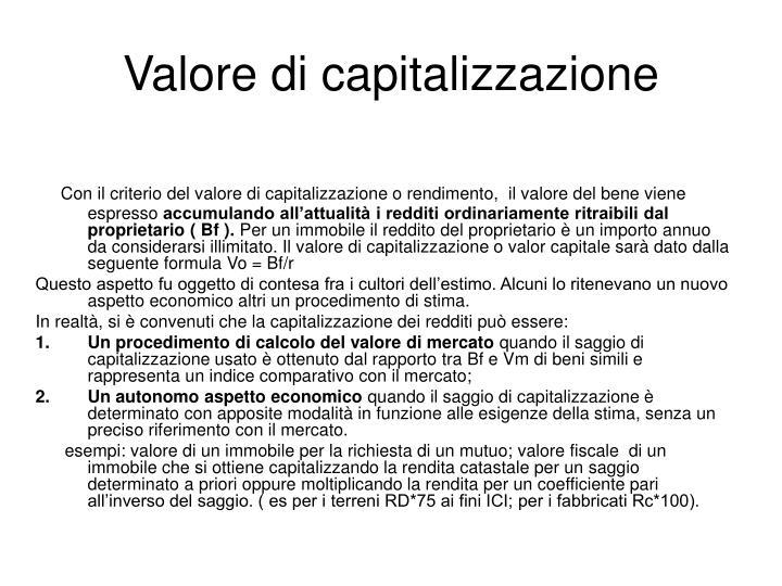 Valore di capitalizzazione