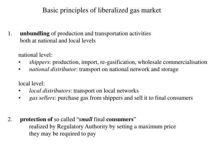 Basic principles of liberalized gas market