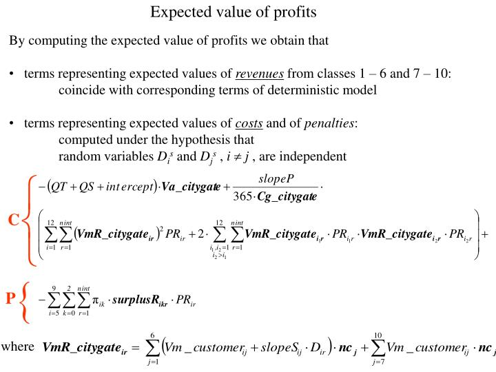 Expected value of profits