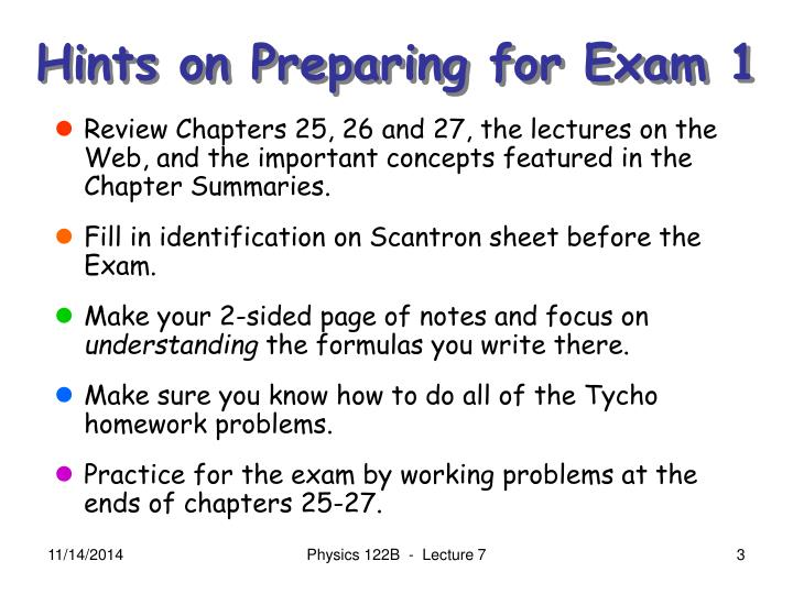 Hints on preparing for exam 1