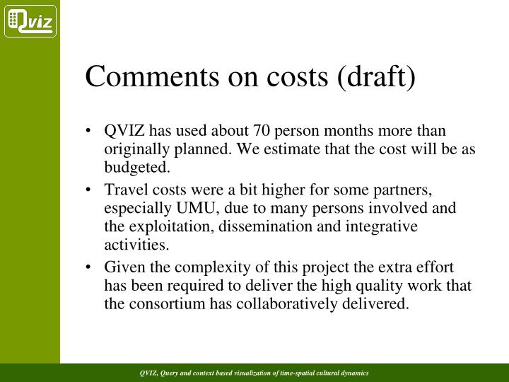 Comments on costs (draft)