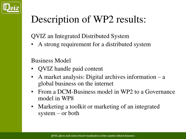 Description of WP2 results: