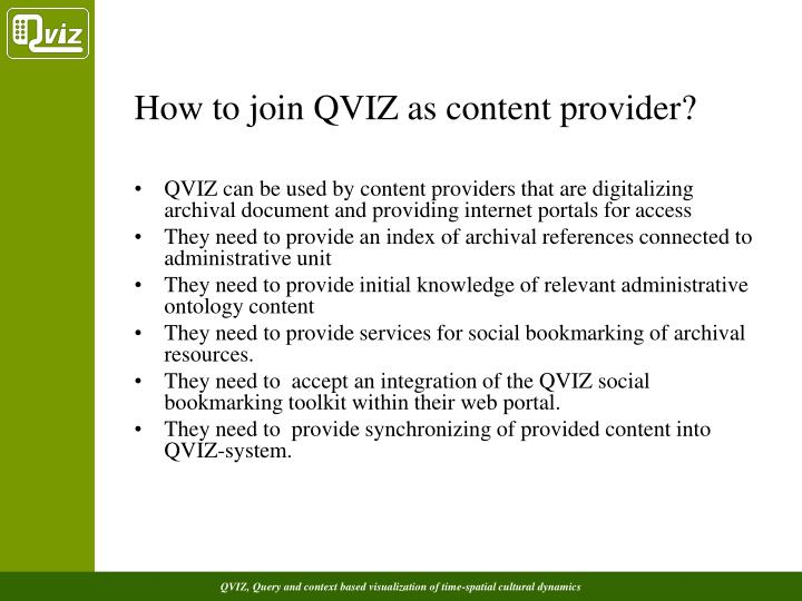 How to join QVIZ as content provider?