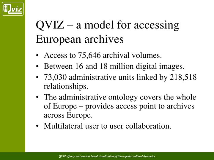 QVIZ – a model for accessing European archives