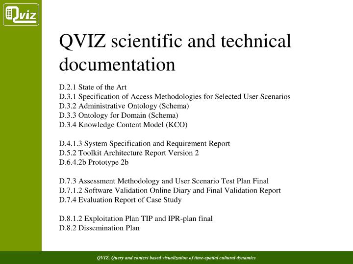 QVIZ scientific and technical documentation