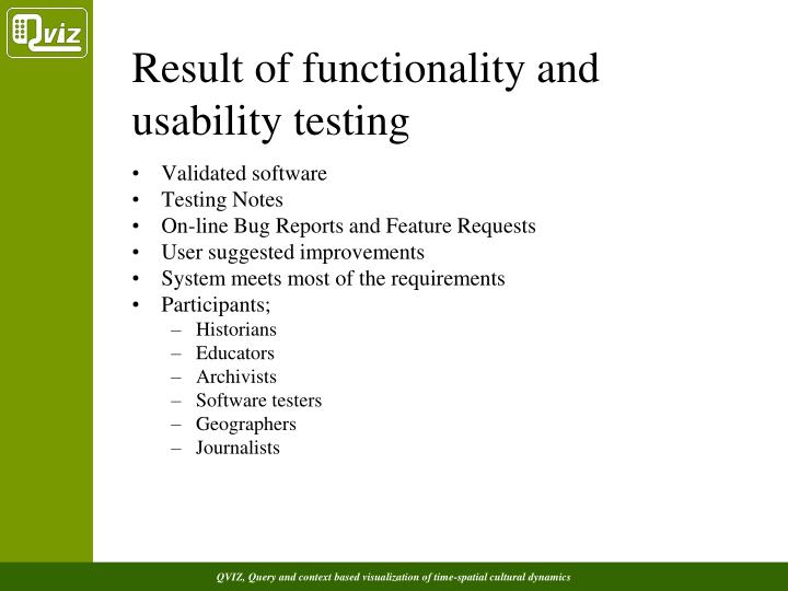 Result of functionality and usability testing