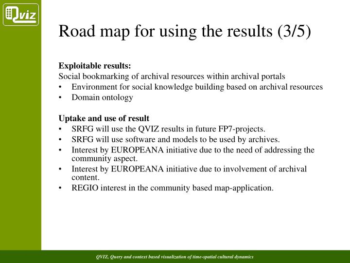 Road map for using the results (3/5)