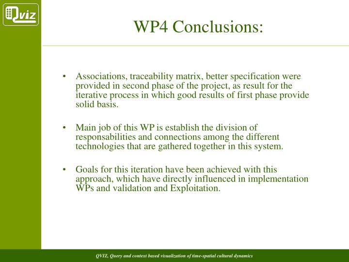 WP4 Conclusions: