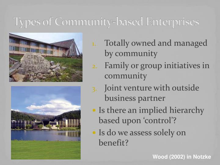 Types of community based enterprises