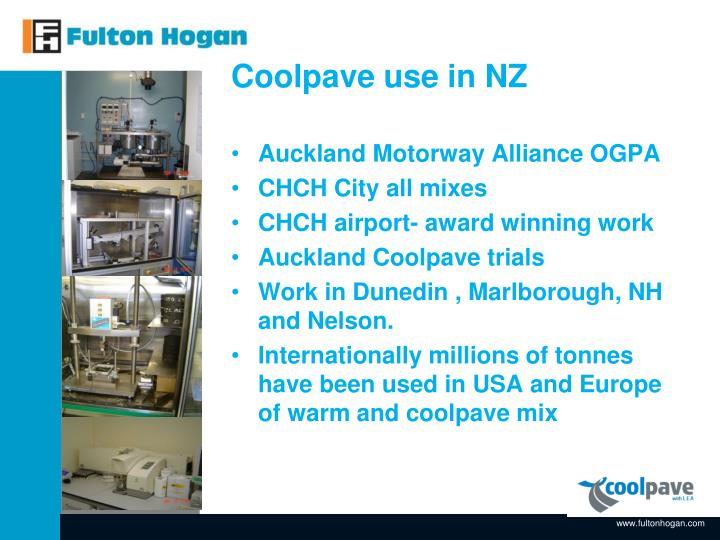 Coolpave use in NZ