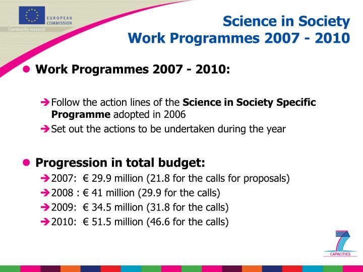 Work Programmes 2007 - 2010: